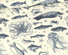 Sommersweat - Meerestiere - Ecru - Bio Qualität - abby and me
