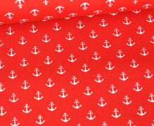 Baumwolle - Webware - Popelin - Petit Anchor - Anker - Poppy - Rot