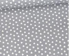 Baumwolle - Webware - Love - Weiße Kleine Herzchen - Grau/Weiß