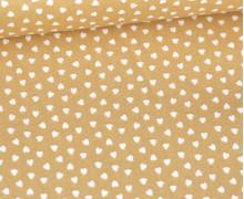 Baumwolle - Webware - Love - Weiße Kleine Herzchen - Beigebraun/Weiß