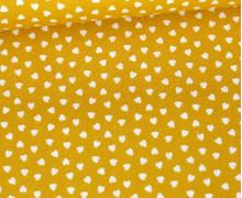 Baumwolle - Webware - Love - Weiße Kleine Herzchen - Senfgelb/Weiß