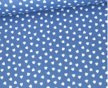 Baumwolle - Webware - Love - Weiße Kleine Herzchen - Jeansblau/Weiß