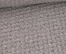 Waffelstrick - Strickstoff - Meliert - Hellgrau
