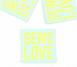 1 KUNSTLEDER LABEL - Bedruckt - Pastelltürkis - SEW WITH LOVE
