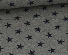 Sommersweat - French Terry - Kleine Sterne Used Look - Meliert - Grau