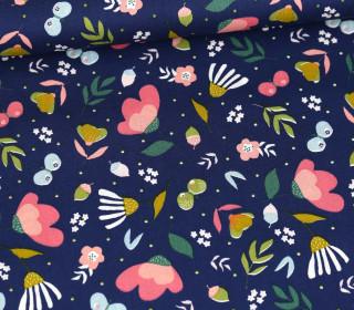 Baumwolle - Webware - Poplin - Flowers & Butterflies - Poppy - Dunkelblau