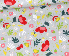 Baumwolle - Webware - Poplin - Flowers & Butterflies - Poppy - Hellgrau
