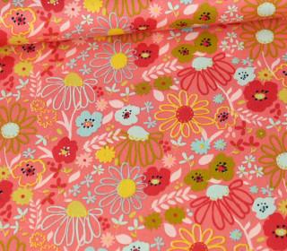 Baumwolle - Webware - Poplin - Colorful Flowers - Poppy - Coralle