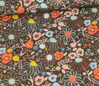 Baumwolle - Webware - Poplin - Colorful Flowers - Poppy - Taupe