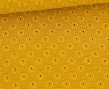 Musselin - Muslin - Uni - Loch-Stickerei - Double Gauze - 195gr - Schnuffeltuch - Windeltuch - Senfgelb