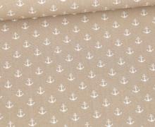 Baumwolle - Webware - Popelin - Petit Anchor - Anker - Poppy - Sand