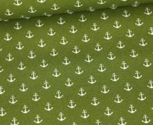 Baumwolle - Webware - Popelin - Petit Anchor - Anker - Poppy - Maigrün