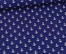 Baumwolle - Webware - Popelin - Petit Anchor - Anker - Poppy - Royalblau