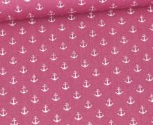 Baumwolle - Webware - Popelin - Petit Anchor - Anker - Poppy - Altbeere