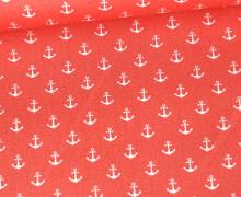 Baumwolle - Webware - Popelin - Petit Anchor - Anker - Poppy - Coralle