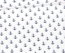 Baumwolle - Webware - Popelin - Petit Anchor - Anker - Poppy - Weiß/Stahlblau