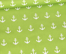 Baumwolle - Webware - Popelin - Weiße Anker - Poppy - Gelbgrün