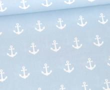 Baumwolle - Webware - Popelin - Weiße Anker - Poppy - Babyblau