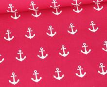 Baumwolle - Webware - Popelin - Weiße Anker - Poppy - Pink