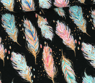 Sommersweat - French Terry - Sparkly Feathers - Poppy - Schwarz
