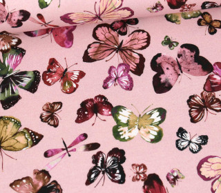 Sommersweat - French Terry - Butterflies - Poppy -  Altrosa Pastell