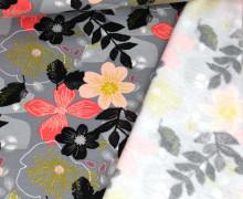Kuschelsweat - Floral - Poppy - Grau