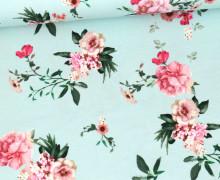 Jersey -  Delicate Flowers - Pastelltürkis
