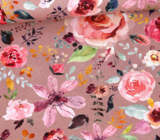 Jersey -  Painted Flowers - Altrosa