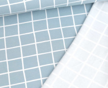 Kuschelsweat Light - Sweat Angeraut - Grid - Poppy - Graublau Hell