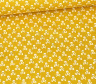 Baumwolle - Webware - Weiße Kleine Totenköpfe - Senfgelb