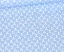 Baumwolle - Webware - Weiße Kleine Totenköpfe - Hellblau