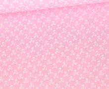 Baumwolle - Webware - Weiße Kleine Totenköpfe - Babyrosa