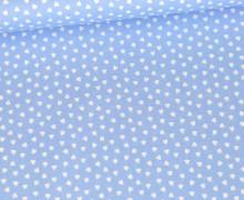 Baumwolle - Webware - Weiße Kleine Herzchen - Hellblau