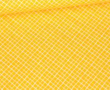 Baumwolle - Webware - Weißes Schräges Gittermuster - Maisgelb