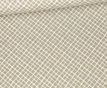 Baumwolle - Webware - Weißes Schräges Gittermuster - Sand