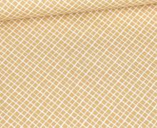Baumwolle - Webware - Weißes Schräges Gittermuster - Beigebraun