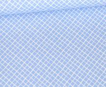 Baumwolle - Webware - Weißes Schräges Gittermuster - Hellblau