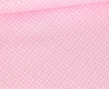 Baumwolle - Webware - Weißes Schräges Gittermuster - Babyrosa