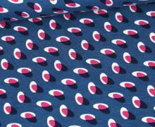 Viskose Jersey - Kleine Ovale - Jeansblau