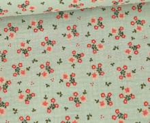 Musselin - Muslin - Sweet Flowers - Double Gauze - 120gr - Schnuffeltuch - Windeltuch - Lichtgrün