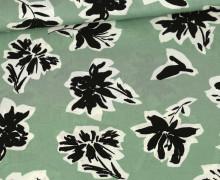 Viskose - Blusenstoff - Radiance - Schwarze Blumen - Lichtgrün