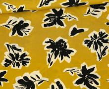 Viskose - Blusenstoff - Radiance - Schwarze Blumen - Senfgelb