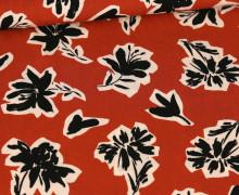 Viskose – Blusenstoff – Radiance – Schwarze Blumen – Rostorange
