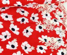 Viskose - Blusenstoff - Borte Lochstickerei - Weiße Blüten - Rot