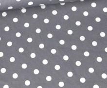 Beschichtete Baumwolle - Weiße Punkte - Grau/Weiß