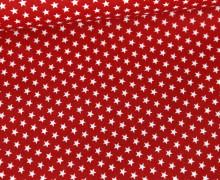 Beschichtete Baumwolle - Weiße Mini-Sterne - Rot/Weiß