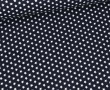 Beschichtete Baumwolle - Weiße Mini-Sterne - Stahlblau/Weiß