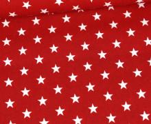 Beschichtete Baumwolle - Weiße Medium-Sterne - Rot/Weiß