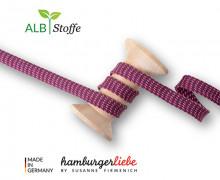 Flechtkordel - Hoodiekordel - Dots - Flach - Orient Oxident - Hamburger Liebe - Bordeaux/Pink