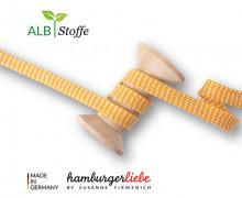 Flechtkordel - Hoodiekordel - Dots - Flach - Orient Oxident - Hamburger Liebe - Maisgelb/Weiß